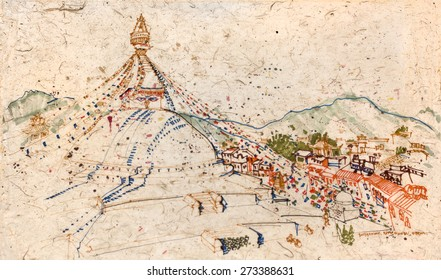 View of Boudhanath temple and Himalayan mountains in Kathmandu, Kathmandu valley, Nepal. Travel sketch on Nepalese textured paper. Quick hand drawing in earthy colors