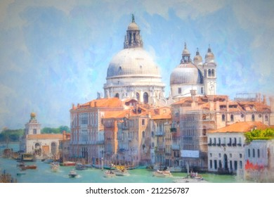 A view of the canal , boats and buildings in Venice, digital watercolor