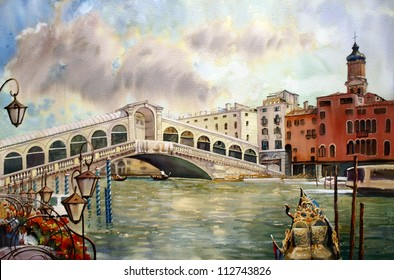 A view of the canal with Rialto bridge, boats and buildings in Venice, painted by watercolor