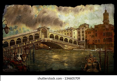 A view of the canal with Rialto bridge, boats and buildings in Venice on vintage old paper isolated on black