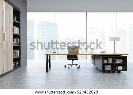 View of a CEO office with large wooden doors, panoramic windows, big wooden table and a bookcase. 3d rendering. Mock up.
