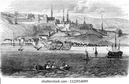 View of the city of Quebec, Canada's capital, vintage engraved illustration. Magasin Pittoresque 1844.