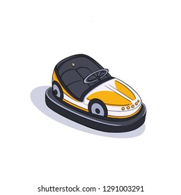 View of clip art Colorful Yellow Electric Bumper autodrome car in amusement park with shadow on isolated white background