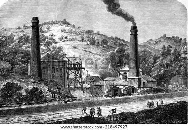 Vue sur le puits de charbon Glyn, près de Pontypool. illustration vintage gravée. Le Tour du Monde, Travel Journal, 1865.