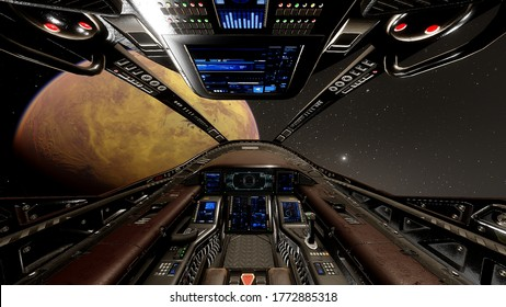 view from the cockpit of a spaceship, cockpit spaceship background, cockpit UFO 3d render
