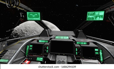 view from the cockpit of a spaceship to the planet, from the inside of the cockpit of a spaceship 3d render