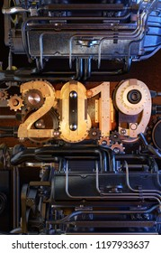 View of the complex engine with the numbers 2019 in the form of the elements of the mechanism. New year greeting card or poster concept. 3D illustration