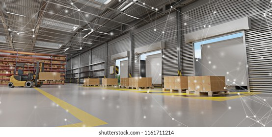 View of a Connection over a warehouse goods stock background 3d rendering