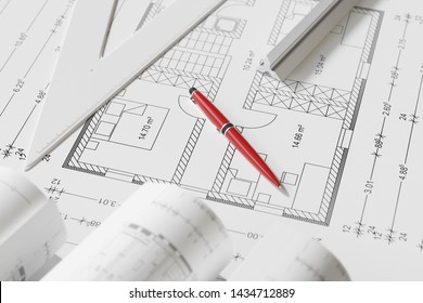 View of construction drawing and pen as architecture. Office. Concept (3d rendering)