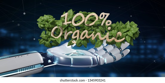 View of a Cyborg holding a Wooden logo 100 % organic with leaves around 3d rendering
