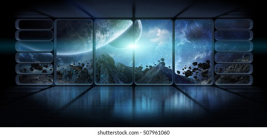 View of distant planet from an observatory starship station in space 3D rendering elements of this image furnished by NASA