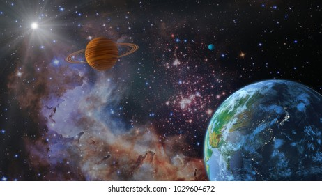 A view of the earth from space. 3d rendering.Elements of this image are furnished by NASA