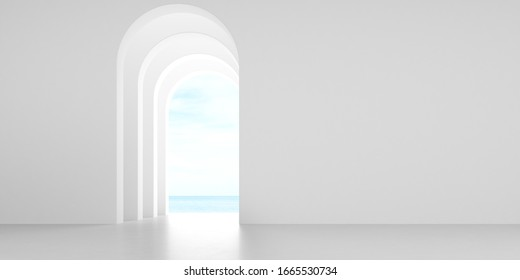 View of empty room in minimal style with arch design,curve details,The sun light cast shadow on the concrete floor on sea view background. 3d rendering.