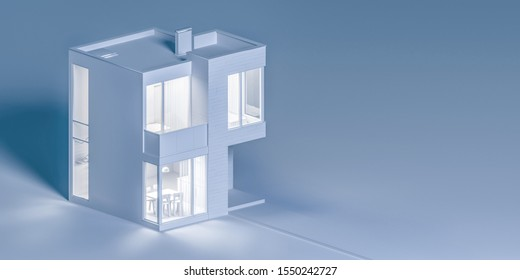 View exterior layout of a modern small house C facade trim of rectangular boards in the evening light. 3D illustration
