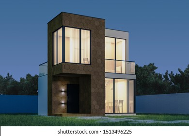 View the exterior of a modern small house with a facade finish of hexagonal ceramic panels in the evening. 3D illustration