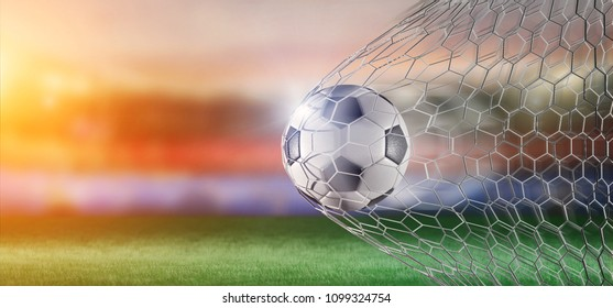 View of a Football ball in the net of a goal  3d rendering