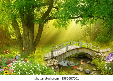 View of forest with few fishes jumping from the water under a wood bridge near butterfly while the low sunlight design for wall, receptionist backdrop, or TV background decoration. 3D rendering