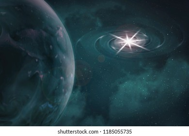 View of a fragment of planet earth in space from orbit, abstract illustration