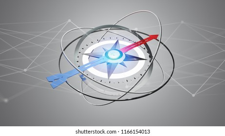 View of a Futuristic compass navigation equipement with network connection - 3d render