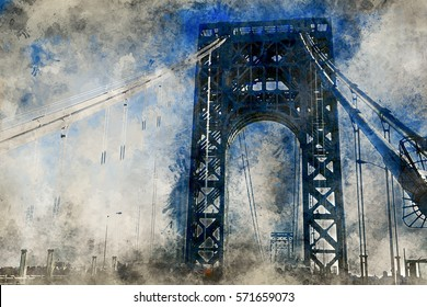 View of George Washington Bridge over Hudson River. Watercolor effect.