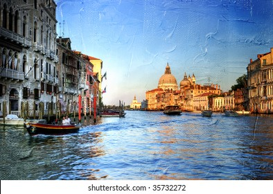 view of Grand canal on sunset - Venetian pictures in painting style