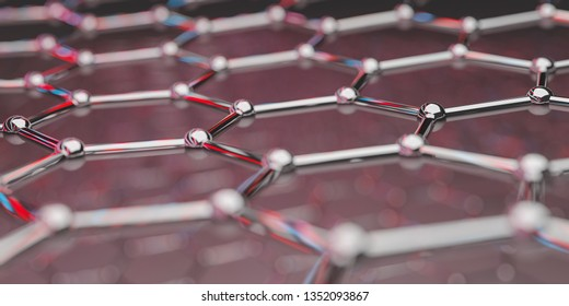 View of a graphene molecular nano technology structure on a background - 3d rendering