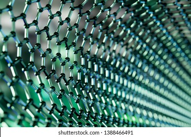 View of a graphene molecular nano technology structure on a green background - 3d rendering
