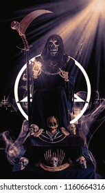 View of grim reaper show tarot card on dark background. Grim Reaper, The Death.