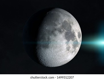 View of an half moon in space with stars in the background 3D rendering elements of this image furnished by NASA