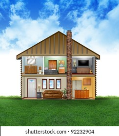 A view of a house layout of rooms with furniture and decoration. There are clouds and grass in the background. Use it for a clean energy or hvac concept.