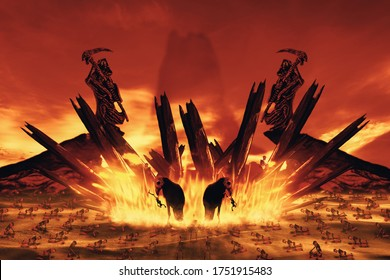 View of human skeleton crawling in flame. The punished in hell. 3D illustration.
