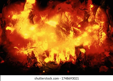 View of human skeleton in flame. The punished in hell. 3D illustration.