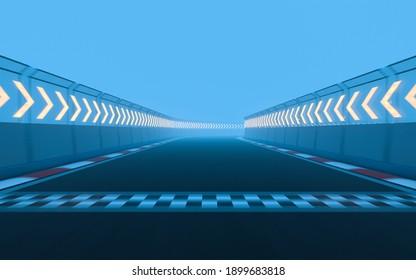 View of the infinity empty asphalt international race track, 3d rendering.
