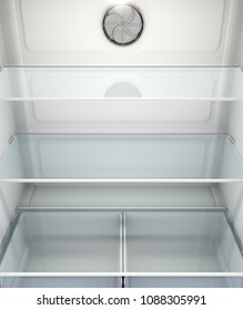 A view inside an empty household fridge or freezer with glass shelves and drawers - 3D render