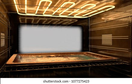 A view from inside a hot operational household oven towards a closed door with an empty tanished baking tray inside - 3D render