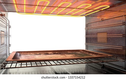 A view from inside a hot operational household oven looking out the open door with an empty tanished baking tray inside - 3D render