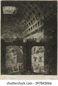 A View of the Inside of the New Prison at Rome, by Jacques Fran\x8Dois Blondel, 1765, French print, mezzotint. Inside view of an antique building, with vaulted coffered ceiling used a jail