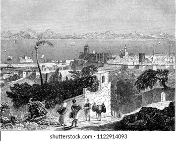 View of the island of Rhodes, vintage engraved illustration. Magasin Pittoresque 1844.