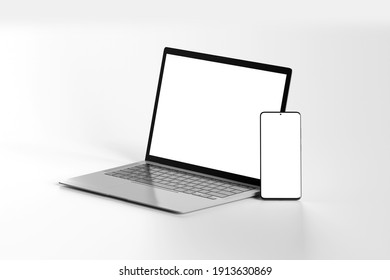 View of Isolated Devices Mockup - 3d rendering