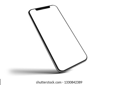 View of an Isolated Smartphone Mockup - 3d rendering