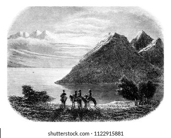 View of Lake Baikal, vintage engraved illustration. Magasin Pittoresque 1855.