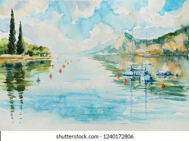 View of  Lake Garda and mountains in the background (Italy).Picture created with watercolors.