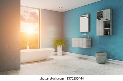 View of a large bath, in blue and light floor. Modern design.. 3D rendering. Sunset.
