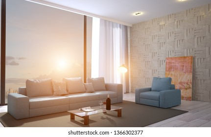 View of the large fabric sofa against the background of the panoramic window. The walls are made of decorated wooden panels.. 3D rendering. Sunset