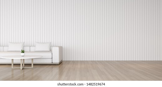 View of living room space with white sofa set and round side table on white wall and bright laminate floor.Perspective of minimal Interior design. 3d rendering.