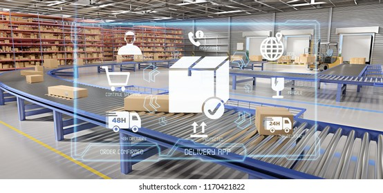View of a Logistic delivery service application on a warehouse background 3d rendering