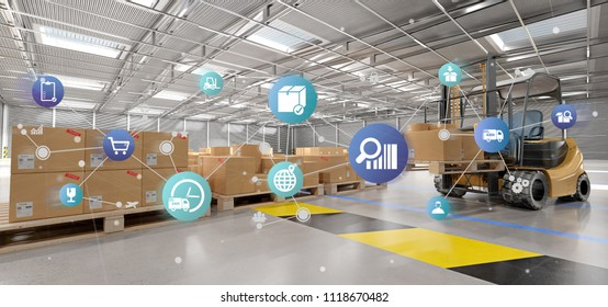 View of a Logistic organisation on a warehouse background 3d rendering