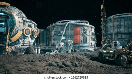 View of the lunar surface, lunar colony and astronauts working at the lunar base next to the lunar rover. 3D Rendering.