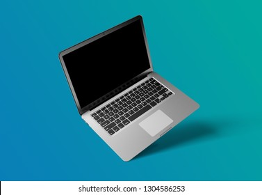 View of a Mock up of a computer isolated on a background with shadow