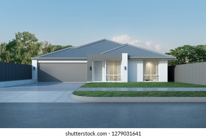 View of modern house in Australian style on blue sky background,Contemporary residence design. 3D rendering.